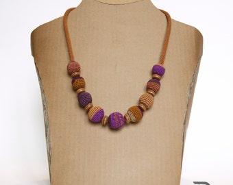 Crochet necklace-ochre, cyclamen
