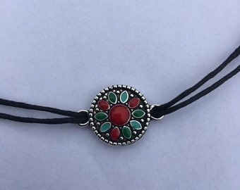 Double strand choker necklace with multi color flower charm