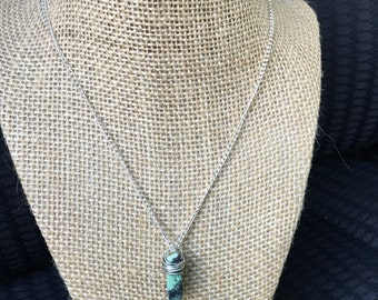 Wire wrapped aqua dyed agate stone necklace