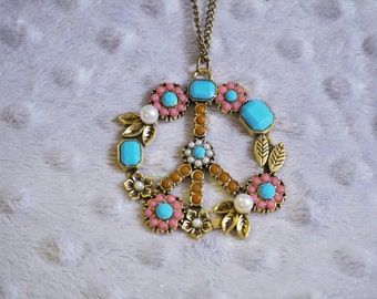 Peace Sign Beaded Turqoise Pink Bronze Long Necklace