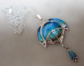 Lovely Art Nouveau Style Sterling Silver and Enamel Pendant