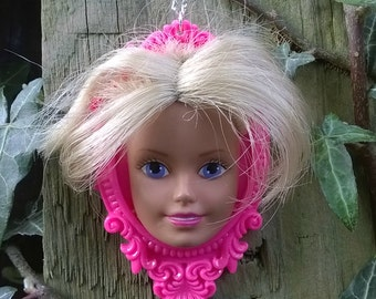 Large Upcycled Barbie Doll Head Cameo Necklace