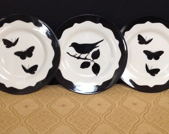 3 Black & White Handpainted Plates-Andrew Tanner