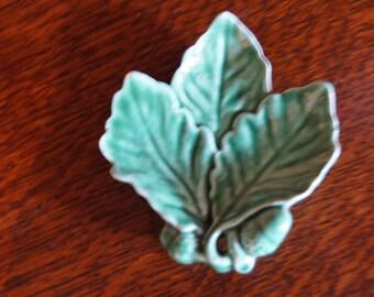 Miniature Majolica Acorn Leaf Dish
