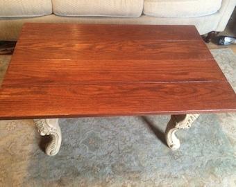 Red oak coffee table stained in american walnut.