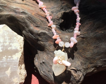 Rose Quartz necklace with wire wrapped Quartz point