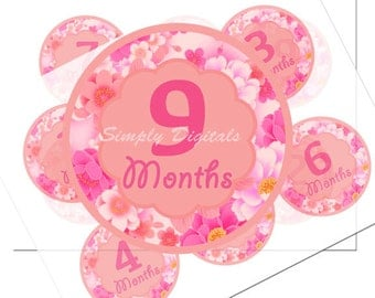 Baby Girl 12 months Milestone Printable Stickers. 3 inch Peach & Pink Stickers. Scrapbooking. SD.