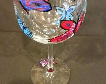 1 Custom Hand Painted  Butterfly Wine Glass