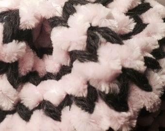 Plush Toddler Hat w/brim - Dark Gray + Light Pink knit hat