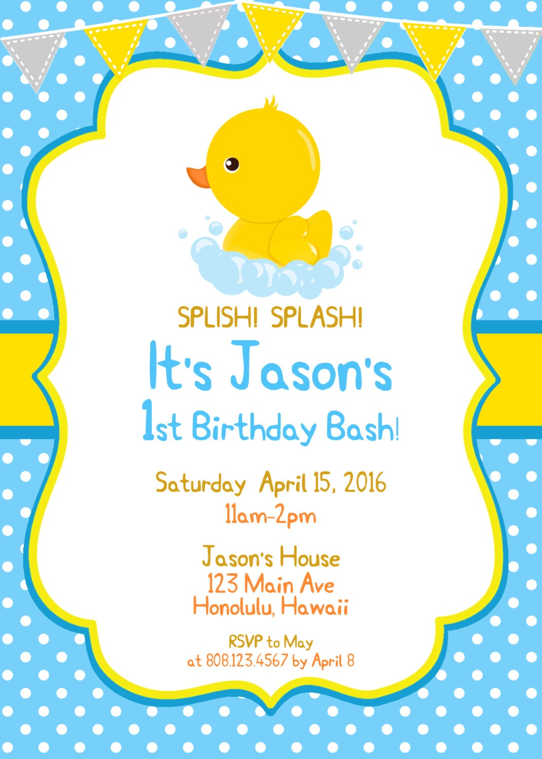 Rubber Duck Birthday Invitation, Rubber Ducky, First Birthday ...