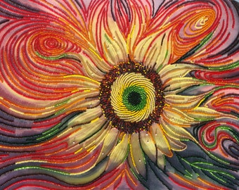 Bead embroidery picture Sun beating