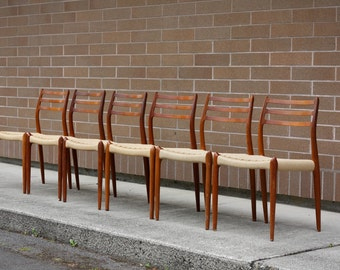 Set of Six JL Moller #78 Dining Chairs