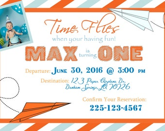 Paper Airplane birthday invitation
