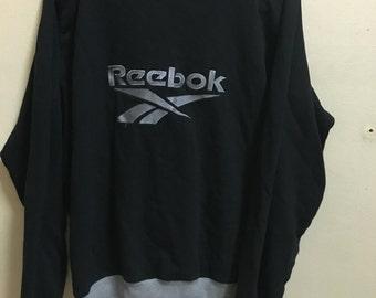 Vintage 90's Reebok Black Silver Sport Classic Design Skate Sweat Shirt Sweater Varsity Jacket Size L #A157