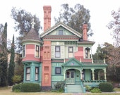 Doll House, Heritage Square, Victorian House, Pink, Turquoise, Architecture, Colorful, Los Angeles, Print, Fine Art, Photograph, Wall Art