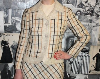 1960's Beige Check Two Piece / Skirt Suit