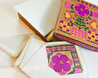 Vintage retro stationary set with paper and  floral envelopes