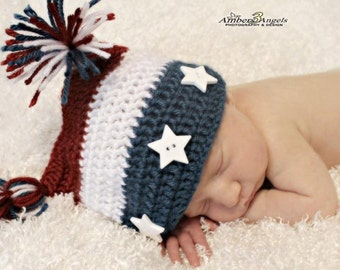 July 4th American Beanie, Newborn Patriotic Hat, Crocheted Photo Prop, Baby Forth of july hat, Baby American Flag Photo Prop