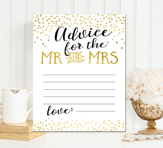 Printable Advice for the couple card- Gold Foil Advice for Mr and Mrs card