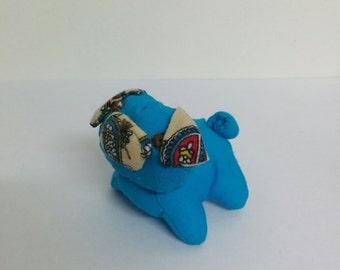 Tiny Bright Blue Cream Paisley Grumpy Pug