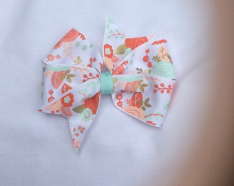 Coral and Light Blue Pinwheel Hairbow