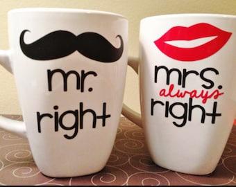 Mr. Right/Mrs.Always Right mug set