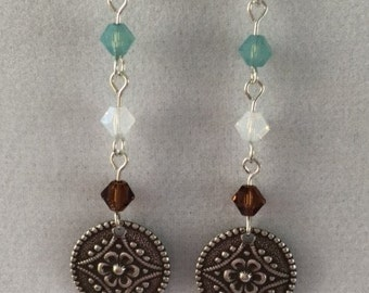 Tri-color crystal and silver disc dangle earring