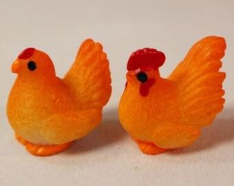 Miniature Resin Hen and Rooster, Miniature Animals, Miniature Chickens, Dollhouse Miniatures, Fairy Garden Miniatures