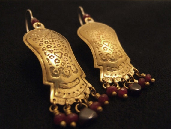 Long gold & red earrings,Ethnic jewelry,Elaborate pattern,Statement earrings,Bohemian jewelry,Brass sterling silver,gemstones,Etched earring