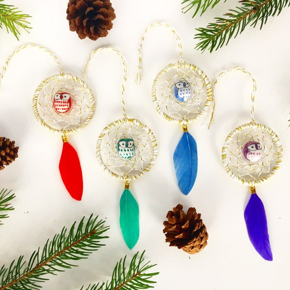 "2"" Mini Owl Dreamcatcher    Christmas Holiday Ornament"