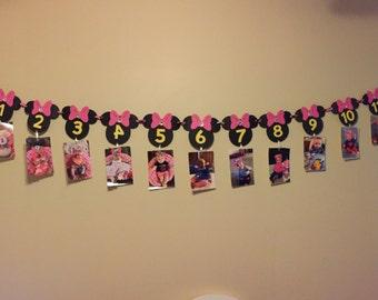 Mickey and Minnie Newborn to one year banner