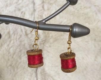 Miniature  Cotton Reel Earrings