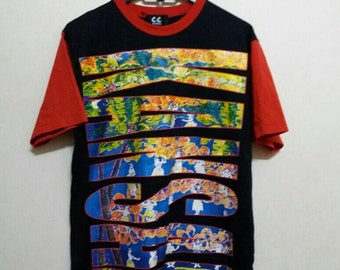 Vintage Kansai yamamoto tee/spellout with multicolour/nice colour/Medium/japan/kansai man/kansaiO2/kansai eye
