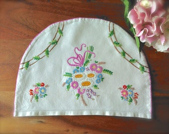 Hand Embroidered Vintage 'Floral Posie' Linen Tea Cosy