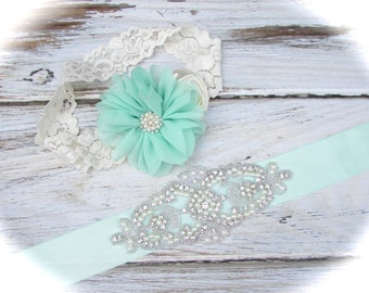 Mint Green Flower Girl Sash,Mint Green Bridesmaid Sash,Flower Girl Sash,Bridesmaid Sash,Rustic Sash,Rustic Wedding,Mint Green Headband