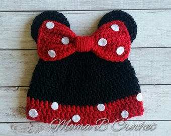 Crochet Minnie Mouse Hat, Minnie Mouse Hat, Popular Mouse Hat, Minnie Mouse Baby Hat, Minnie Mouse Toddler Hat, Crochet Minnie Mouse Ears
