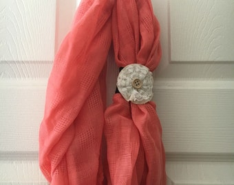 Gorgeous salmon infinity scarf with removable floral cuff
