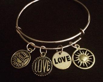 Antique style adjustable charm bracelet