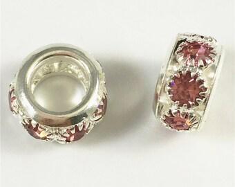 10pcs 10mm Silver Plated Rhinestone  Beads, Large Hole Beads