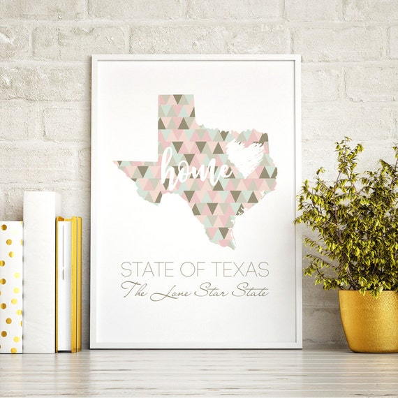 State Texas, Texas Map, Texas Print, Wall Art Texas, Art Print Texas Decor, Texas Art Print, Poster, USA printables, USA map, State prints