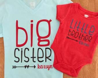 Sibling DIY Iron On Decal - Big Brother - Little Brother - Little Sister - Big Sister - Baby Brother - Baby Sister