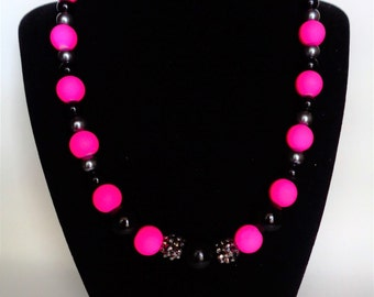 Pink diva beaded necklace