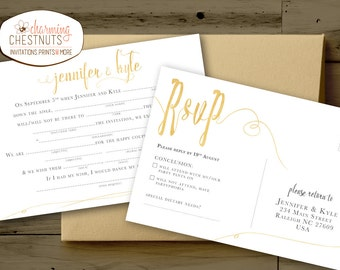 Madlib RSVP Postcard, White and Gold, wedding madlib, funny wedding, madlib, printable postcard, RSVP postcard, Gold wedding, Mad lib RSVP