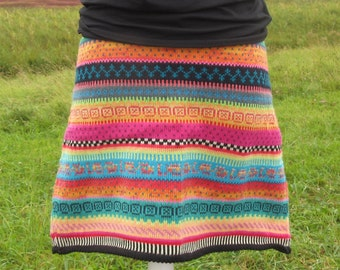 Colorful knit skirt Veli size XL.