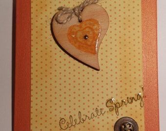 Celebrate Spring orange hart - greeting card