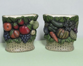Decorative Ceramic Wall Planters, Fruit and Veggie Wall Planters, Kitchen Decor, Food Planters,