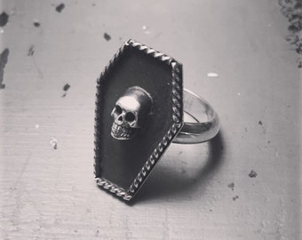 Sterling Silver Coffin Ring