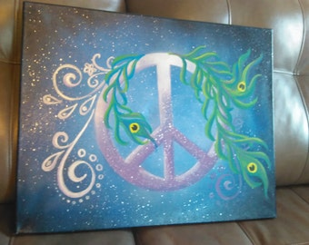 Peace and Feathers (16x20). Sale priced