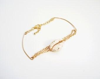 Bracelet 12 k gold plated white ABYSS