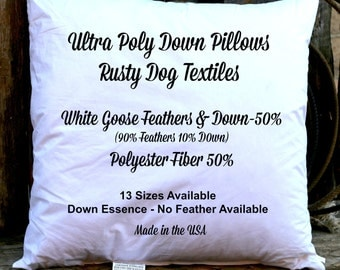 22x22 inch ultra poly down pillow insert 50 poly u0026 50 10